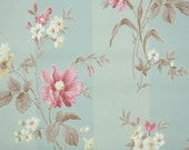 1940's Vintage Wallpaper - Floral Wallpaper with Pink and Yellow Flowers and Brown Leaves on Green Stripe