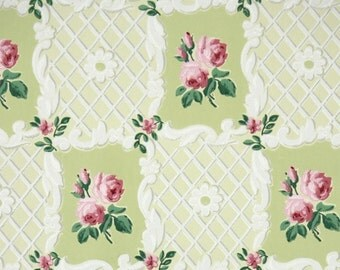 1940s Vintage Wallpaper by the Yard - Floral Vintage Wallpaper with Pink Rose on Green and White Lattice