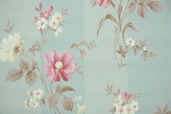 1940s vintage wallpaper by the yard floral wallpaper with. Black Bedroom Furniture Sets. Home Design Ideas