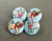 pug dog fabric covered buttons - dog fabric - sewing buttons - shank button - dogs with bandanas - made in the USA -