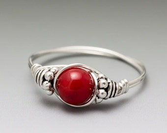 Red Coral Bali Sterling Silver Wire Wrapped Bead Ring - Made to Order, Ships Fast!