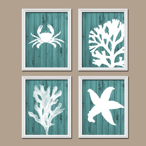 beach bathroom wall art canvas or prints nautical by trmdesign. Black Bedroom Furniture Sets. Home Design Ideas
