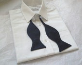 Agnes midnight navy blue dupioni silk freestyle self tie bow tie