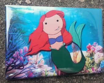 Ariel Little Mermaid kokeshi style refrigerator magnet peg doll illustration