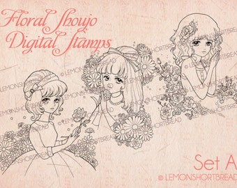 Digital Stamps Floral Shoujo Girls, Digi Download, Coloring Pages, Flower Retro Style, Fashion, Clip Art, Scrapbooking Supplies