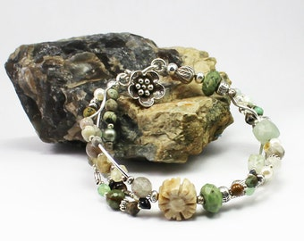 Unique handmade stone bracelet with artisan tribe silver and genuine stones