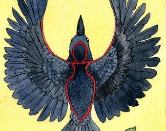 Celtic Crow totem   A5 archival print