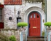 Red Door Photograph, Rustic Home Decor, Crimson Red, Scarlet, Green, Beige, Shabby Chic, Brick, Architecture,  8x10, 11x14 - Red Door