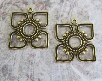 NEW 2 Brass Square Drop Charms 3250B