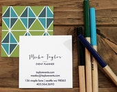 calling cards / business cards mod triangles olive / blues - set (50)