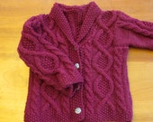 Baby Girls Handknit Sweater Size 12 month, Handmade Irish Cardigan Mulberry Purple