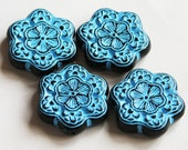Vintage Acrylic flower beads 30mm Blue with gold accent