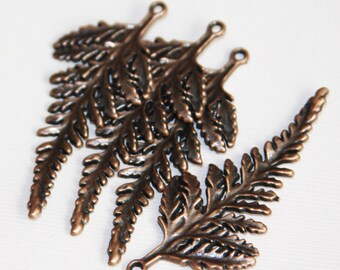 4 pcs of Antique Copper leaf pendant 62x28mm
