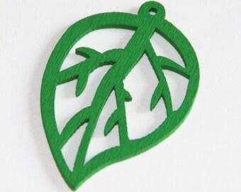 10 pcs of  Wood Pendant green leaf 44x29mm