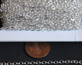 32 ft Spool of Silver Plated Tiny Flat Soldered Cable Chain 2mm