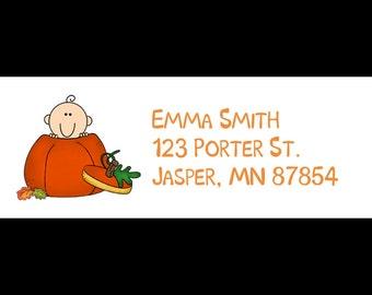 30 Return Address Labels  - Little Pumpkin