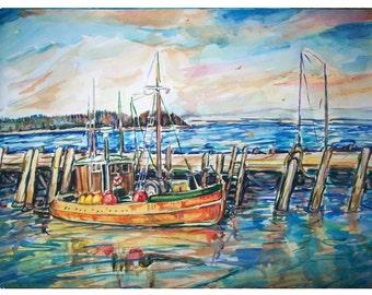 REFLECTIONS - 11x15 original painting seascape watercolor OOAK- Harbor, waterfront, boat, dock , fishing boat, blue, ocean, sea