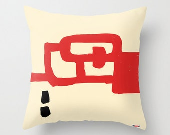 Red and white Decorative throw pillow cover - Geometric pillow cover - Modern design - Contemporary decor - Art pillow cover