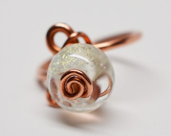 Copper wire wrapped dichroic glass bead spiral wirework ring