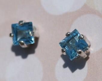 December Birthstone, Blue Topaz Earrings, Blue Stud Earrings, Sterling Silver Earrings, Small Blue Earrings, Studs by Maggie McMane Designs