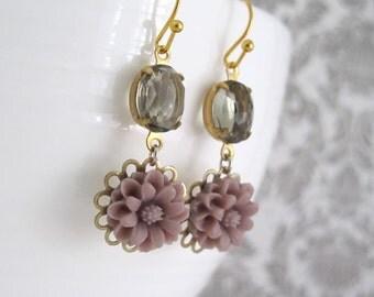 Ash Purple Flower Earrings. Vintage Glass Floral Drop Earrings. Ash Glass And Flower Dangle Earrings Lead Free Ear Jewelry