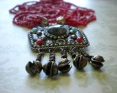 Vintage Ethnic MultiStrand Pendant Necklace - Clamshell Charms - Tribal Necklace - Earthy - Summer Necklace - Bohemian Jewelry - Boho - Gift