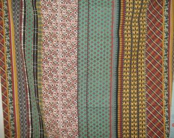 """Vintage Stripe Calico Cotton Fabric Faux patchwork 45"""" x 66"""""""