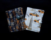 SALE New York city or taxis teabag wallet or business card wallet in neutral print with sideways pockets- standard size - ready to ship