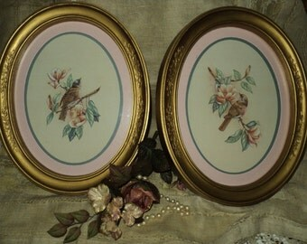 Two Vintage Homco Bird Pictures--Oval Gold Frame With Glass
