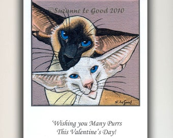 LARGE SIAMESE CAT Art Valentines card by Suzanne Le Good