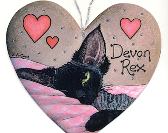 DEVON REX CAT heart-shaped Black Smoke painting sign by Suzanne Le Good