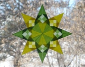Lime Green and Pastel Yellow Checkerboard Window Star with 8 Points