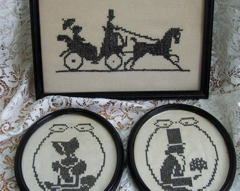 Vintage - Set of three Shadow Pictures - Black Cross Stitch - Victorian Theme Silhouette