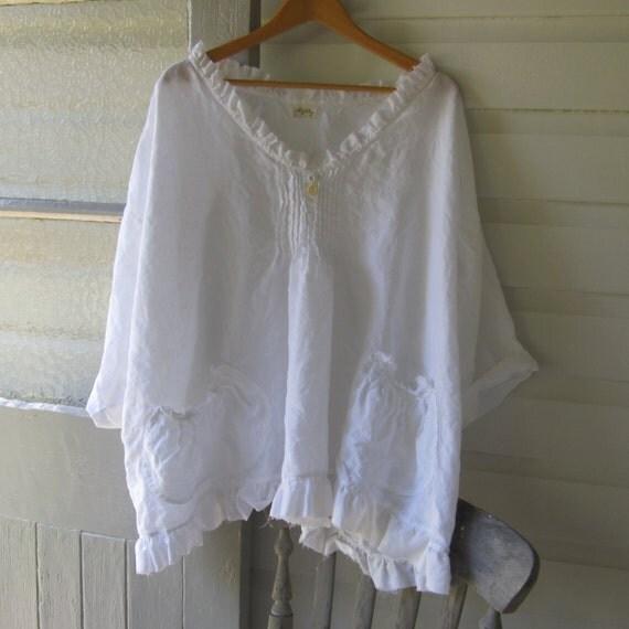 Custom order for rbarl white linen shirt one size fits most for Single order custom t shirts