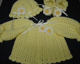 Baby Girl Sweater set, Hand Crochet Baby Girl, Yellow Sweater Hat Booties Set 0-3 Months, Daisy Flowers, Christening, Baby Shower, Baptism