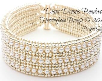 Herringbone Bangle Bracelet Kit in Bright Silver