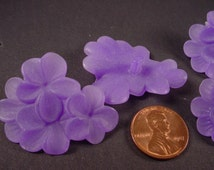 4 Vintage Lucite Purple Flowers in a Cluster Stone or Button