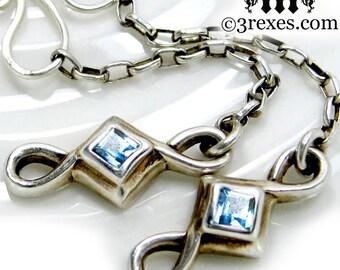 Silver Celtic Earrings Blue Topaz December Birthstone