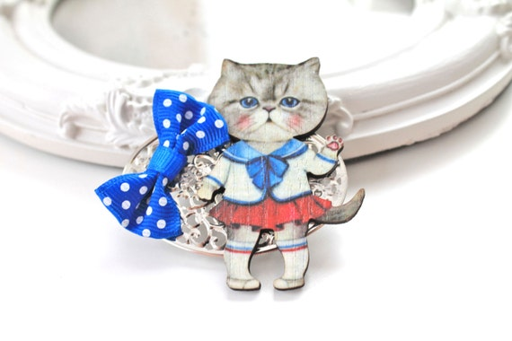 Hair Clip cat  nautical outfit  kawaii  lolita accessory sea ocean sailor
