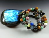 "Multi Gemstone Triple Coiled Bracelet....63 different Gemstones....My ""Whammy 63"" Bracelet"