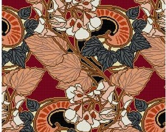 Beauclair Leaf and Floral Trellis Design cross stitch pattern PDF Art Nouveau