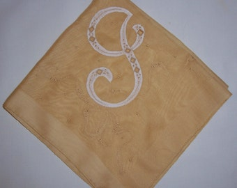 Vintage Gold Hanky With a White Initial I or J - Handkerchief Hankie