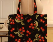 Book Bag Tote Purse - Strawberries on Black