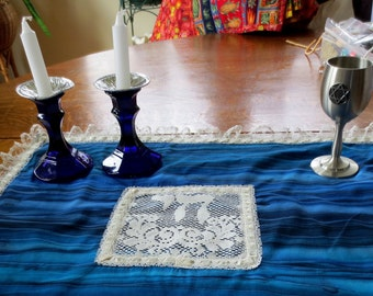 Batik and lace Challah cover with lace L'Chaim and lace edging colors of water -- Jewish wedding, anniversary, Shabbat