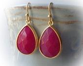 Ruby jade drop earrings gold framed facet elegant rose cut fancy dangle little small dainty drop earrings for women girl pink wine red stone