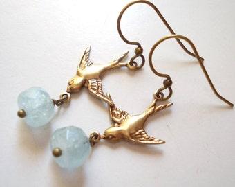 Aquamarine Swallow Earrings handmade natural aquamarine gemstone vintage finish oxidized brass long dangle drop flying bird feather wing