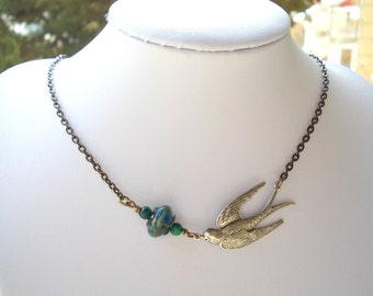 Chrysocolla and glass swallow necklace swallow blue green bird necklace for women bird brass stone silver girl engagement gifts for her