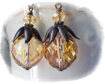 Large earrings leaf acorn glass black brass metal earrings steampunk fantasy earrings champagne champaign glass retro vintage style chic