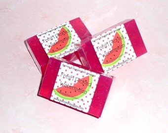 Fresh Picked Watermelon Mini Guest Bar Glycerin Handmade Soap SLS Detergent Free