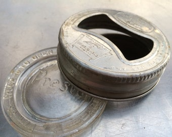 2 Vintage Presto Jar Company Tin Lids with Glass Liners for old Fruit Jars
